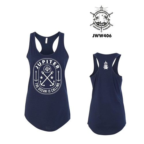 The Ocean Is Calling Ladies Racer Back Tank